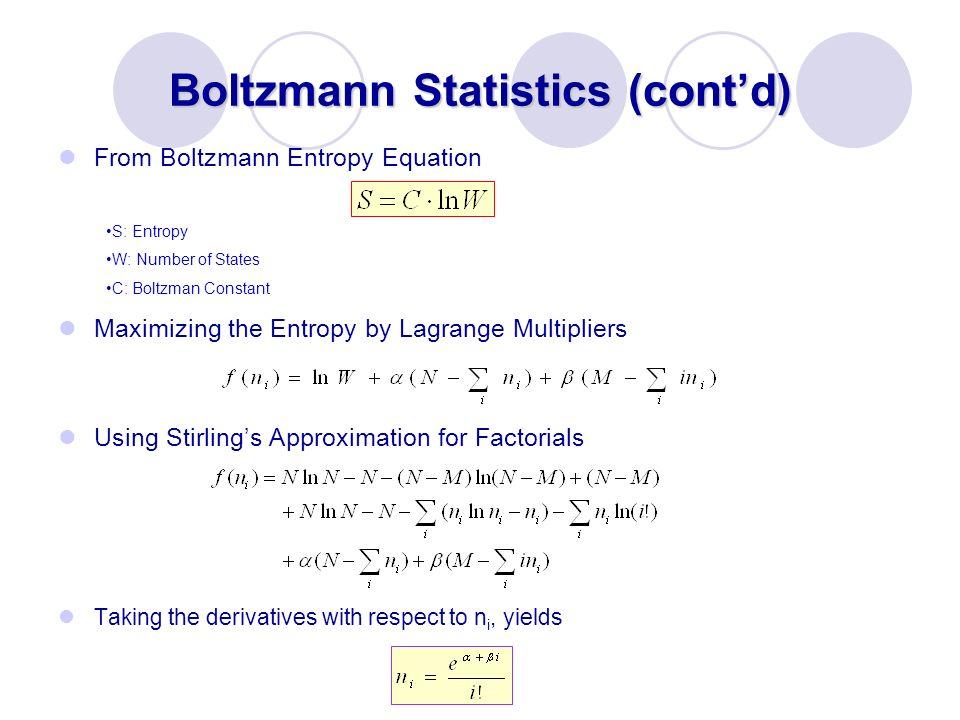 Boltzmann Statistics (cont'd)