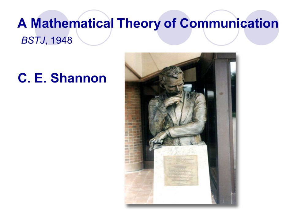 A Mathematical Theory of Communication BSTJ, 1948
