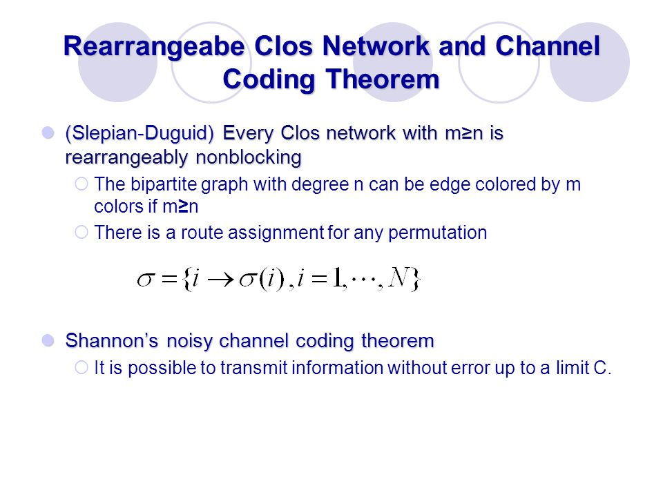 Rearrangeabe Clos Network and Channel Coding Theorem
