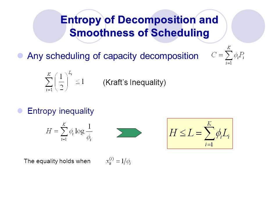 Entropy of Decomposition and Smoothness of Scheduling