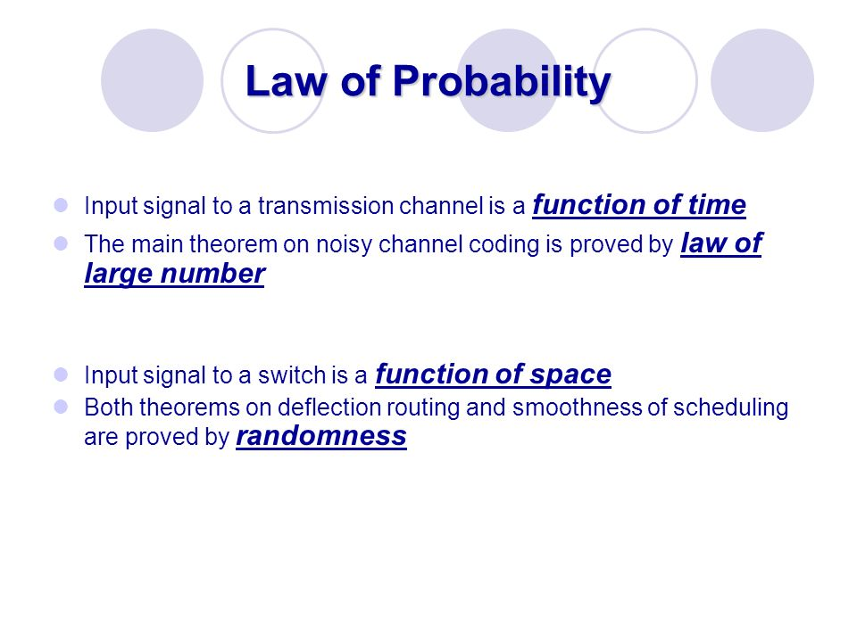 Law of Probability Input signal to a transmission channel is a function of time.