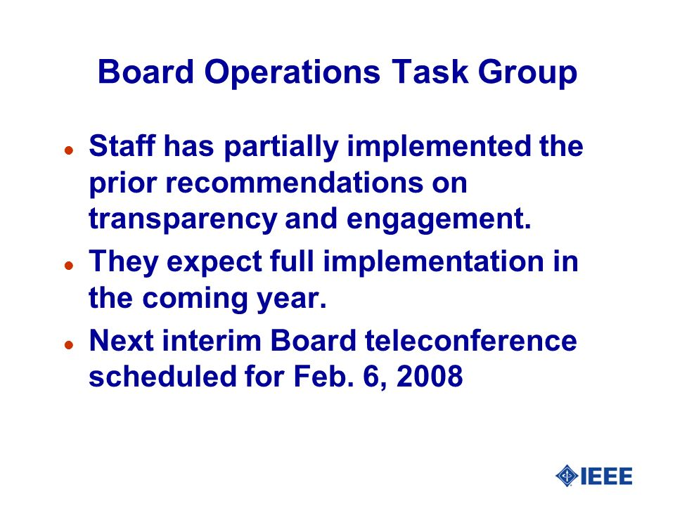 Board Operations Task Group