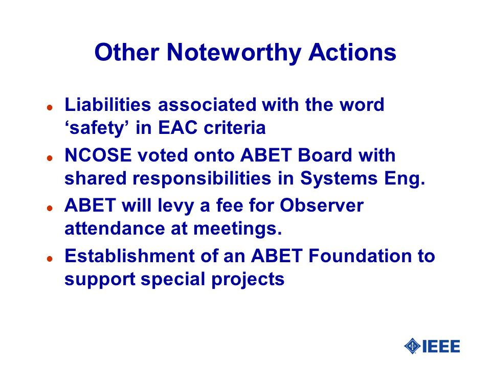 Other Noteworthy Actions