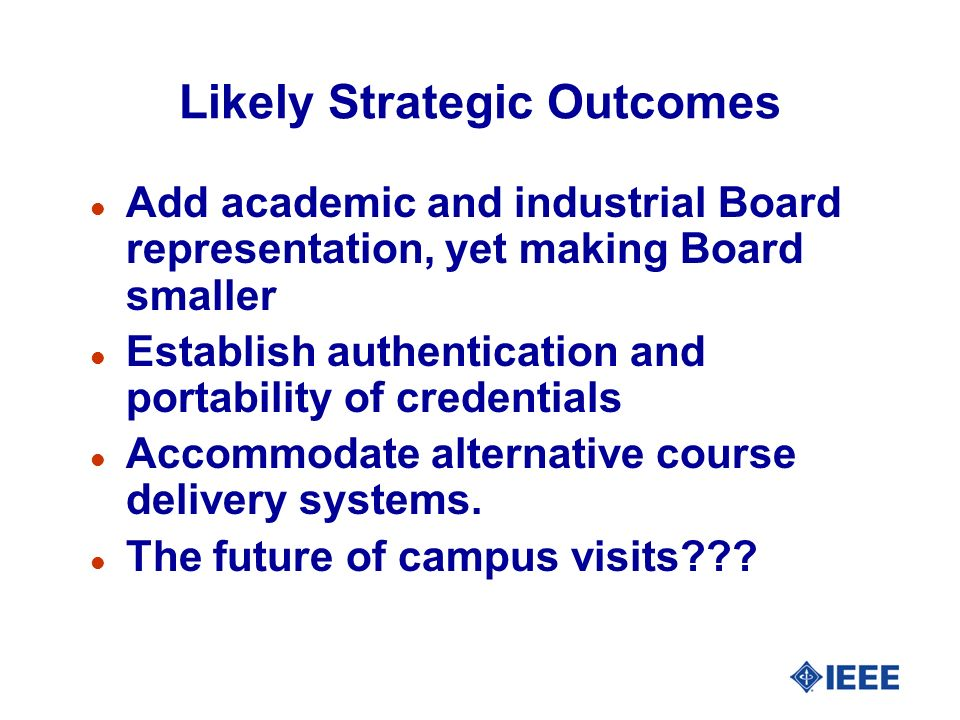 Likely Strategic Outcomes