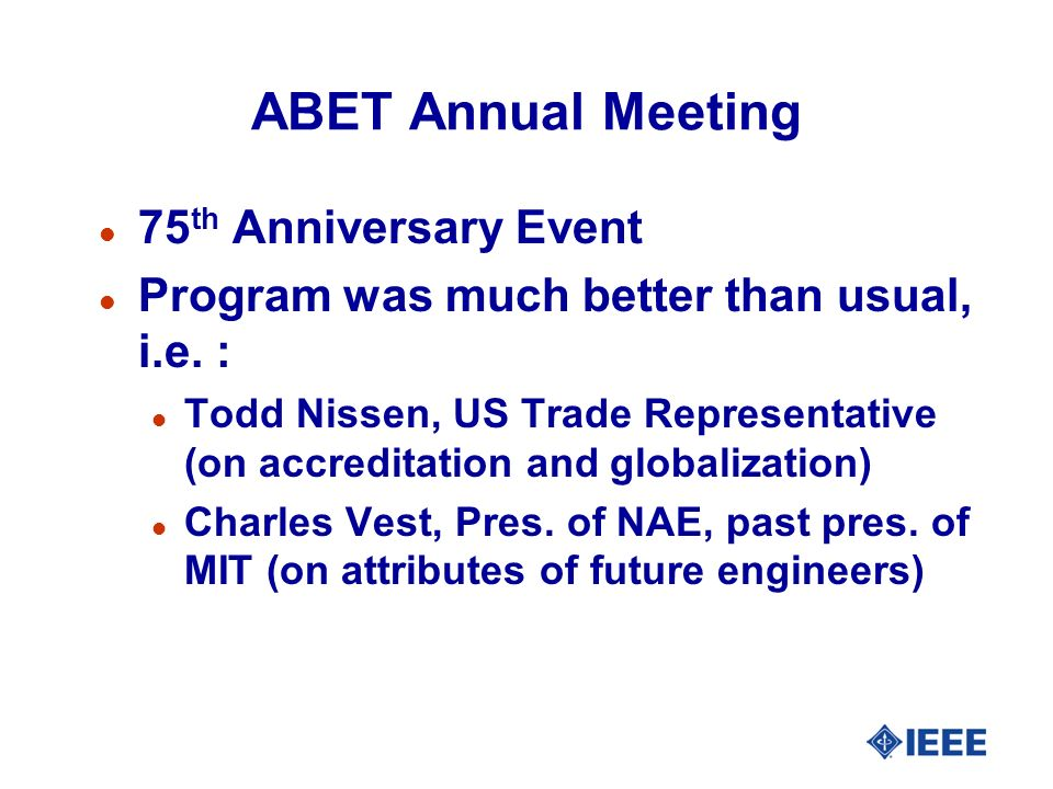 ABET Annual Meeting 75th Anniversary Event
