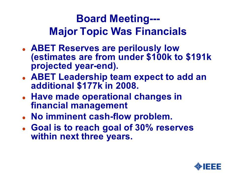 Board Meeting--- Major Topic Was Financials