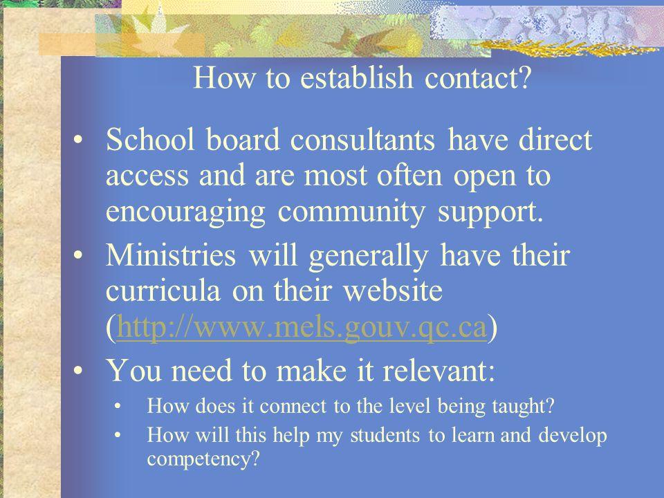 How to establish contact