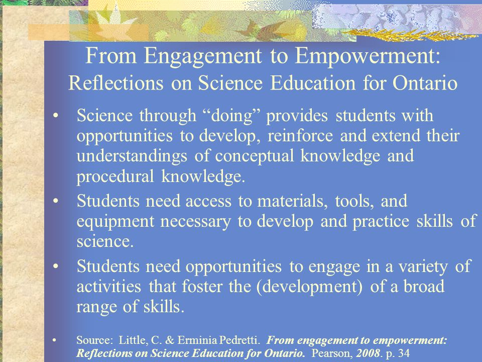 From Engagement to Empowerment: Reflections on Science Education for Ontario