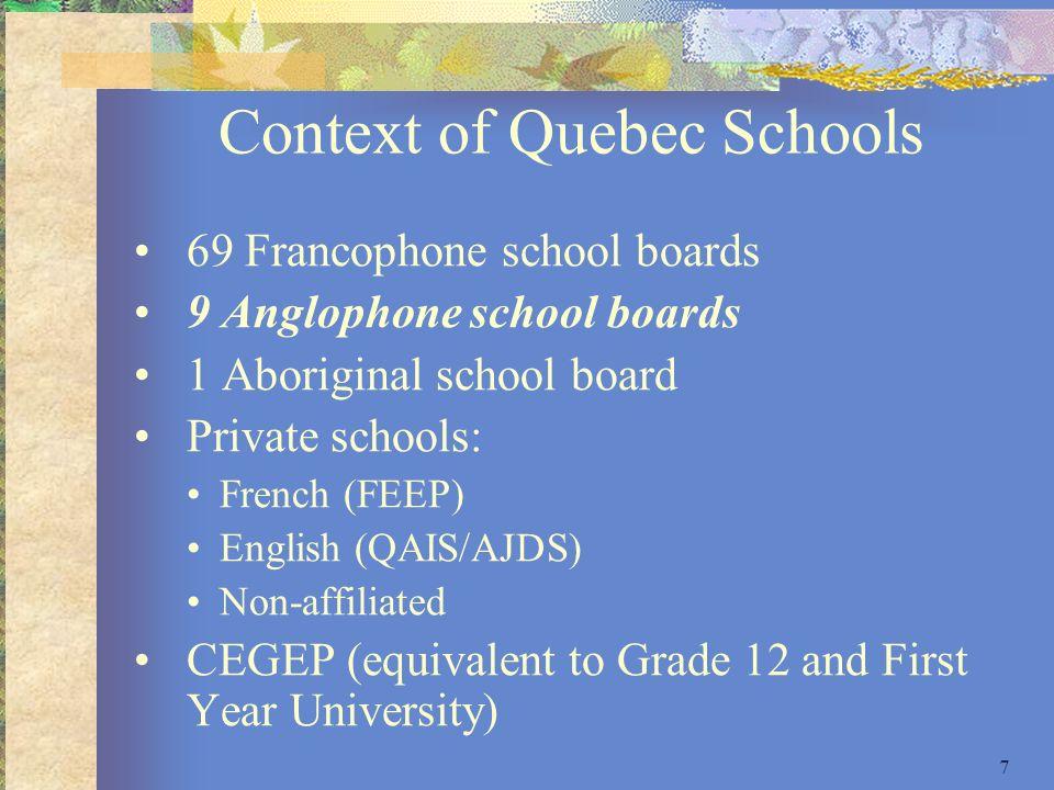 Context of Quebec Schools