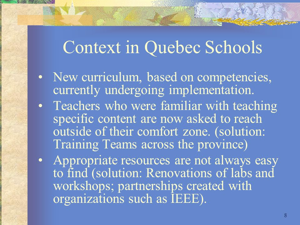 Context in Quebec Schools