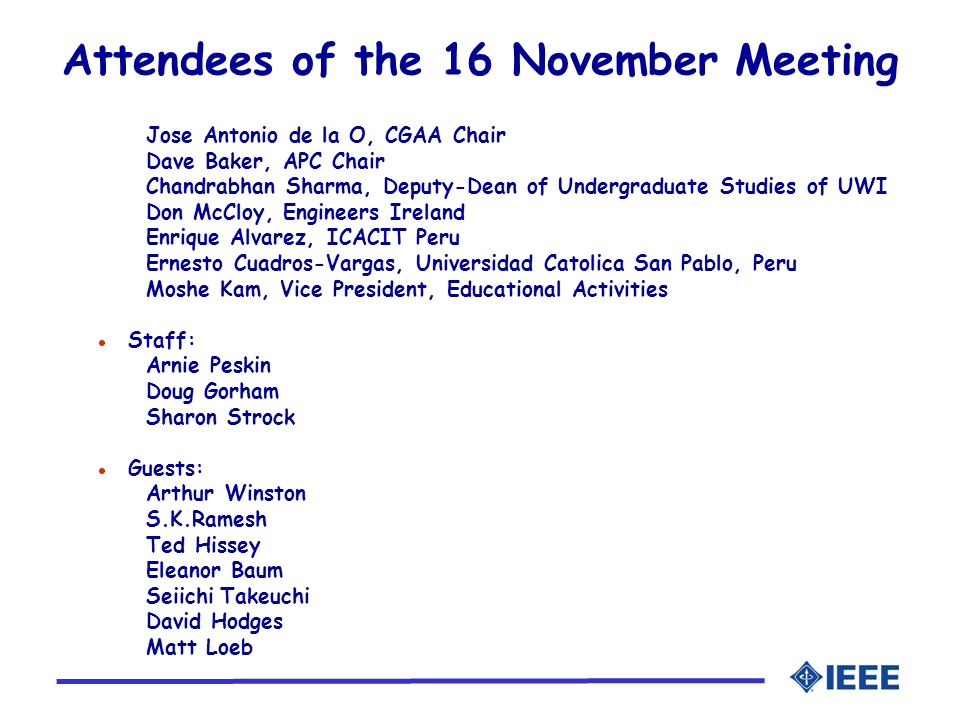 Attendees of the 16 November Meeting