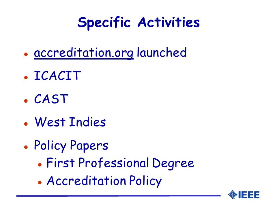 Specific Activities accreditation.org launched ICACIT CAST West Indies