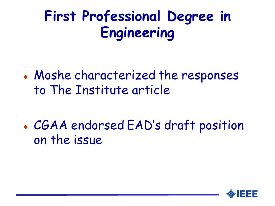 First Professional Degree in Engineering