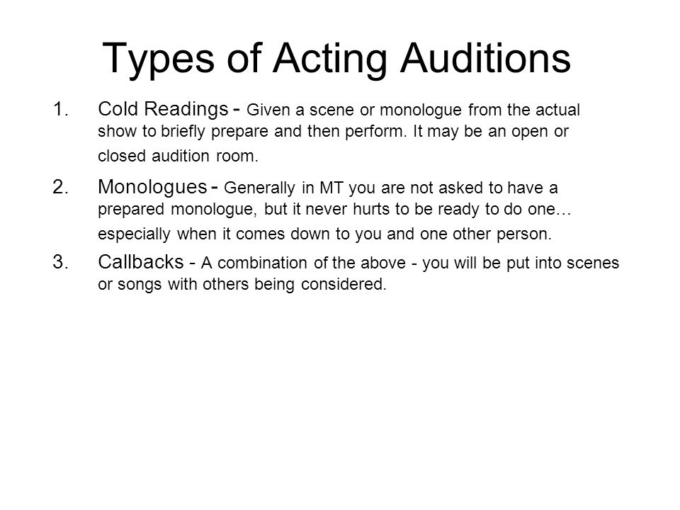 types of acting Acting resources  acting tips  acting articles  what's your acting type you are a unique character - it's your product one of the basic premises of all marketing (a fancy word for selling) is the usp.