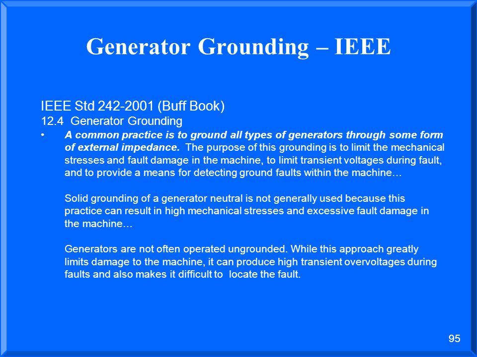 Generator Grounding – IEEE
