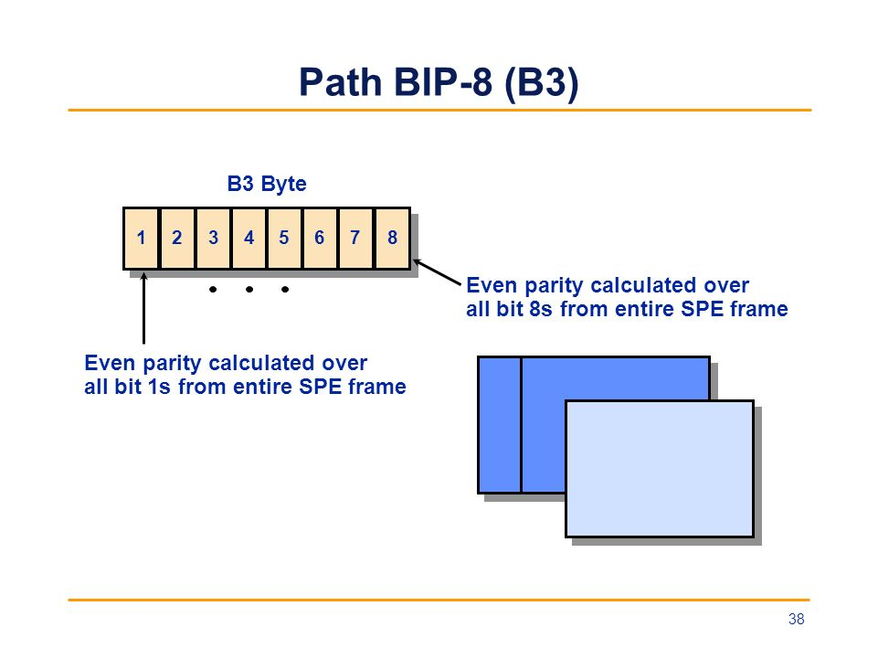 Path BIP-8 (B3) B3 Byte Even parity calculated over