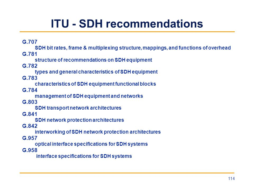 ITU - SDH recommendations