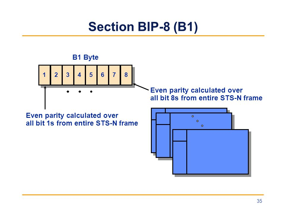Section BIP-8 (B1) B1 Byte Even parity calculated over
