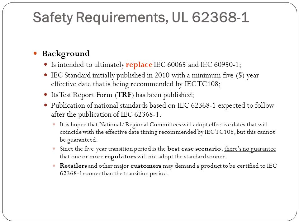 Safety Requirements, UL