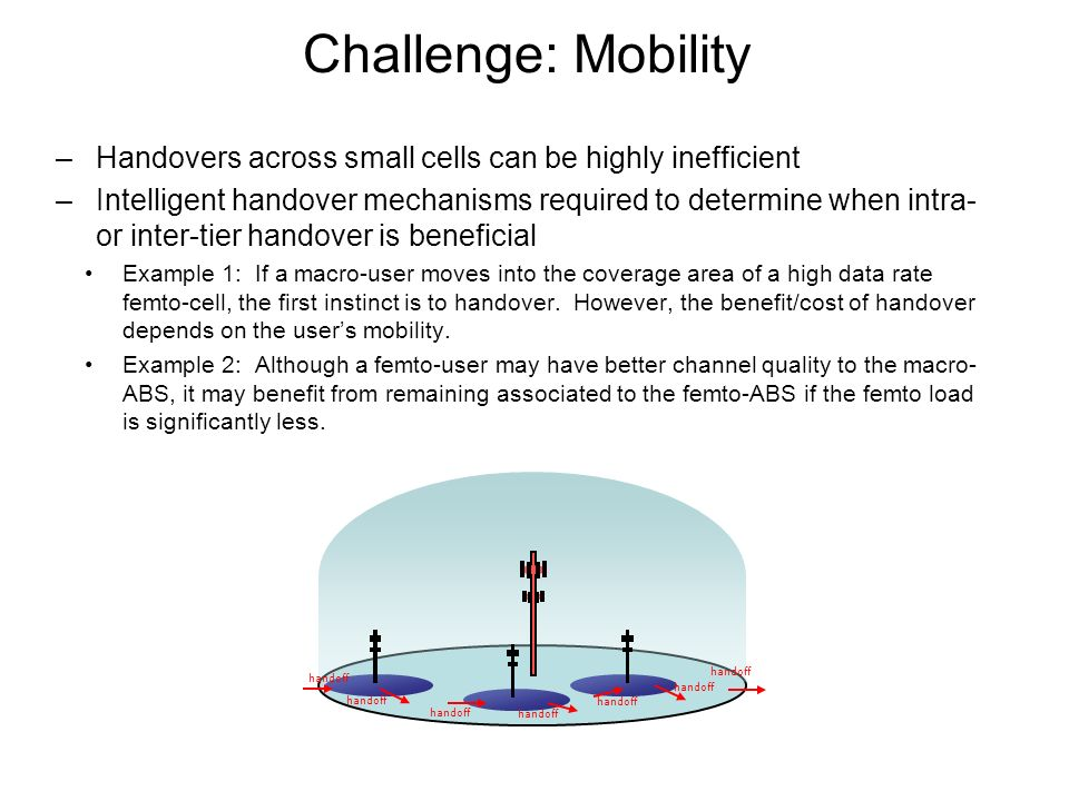 Challenge: Mobility Handovers across small cells can be highly inefficient.