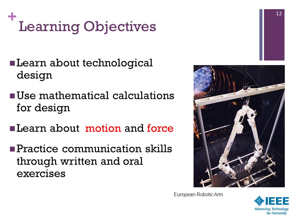Learning Objectives Learn about technological design