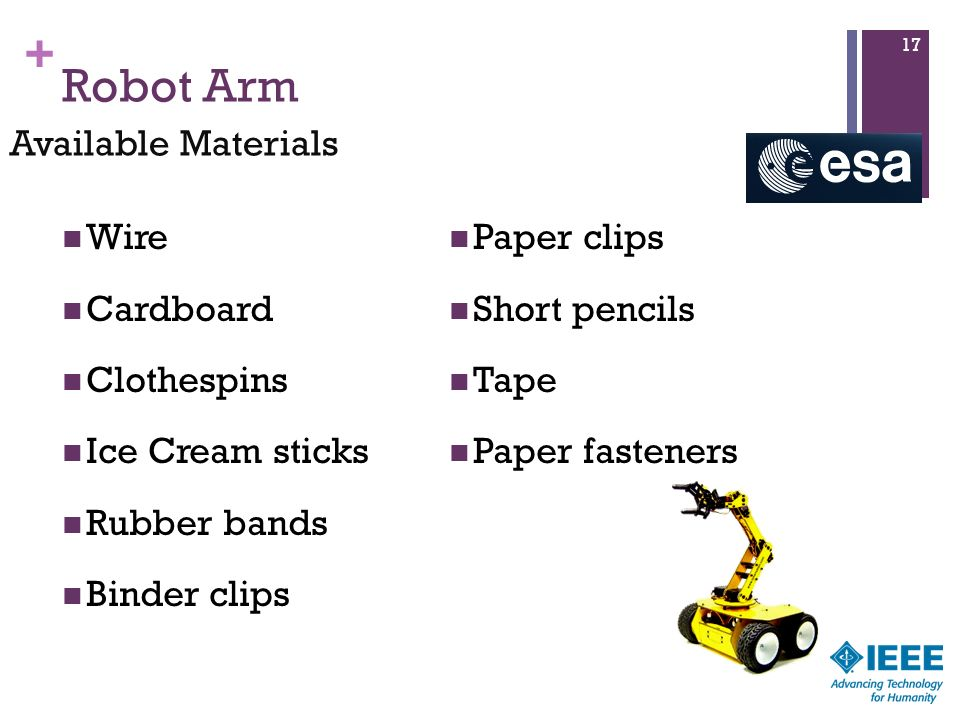 Robot Arm Available Materials Wire Paper clips Cardboard Short pencils