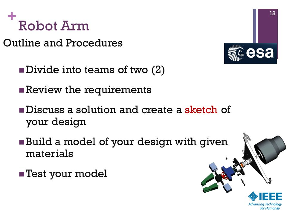 Robot Arm Outline and Procedures Divide into teams of two (2)