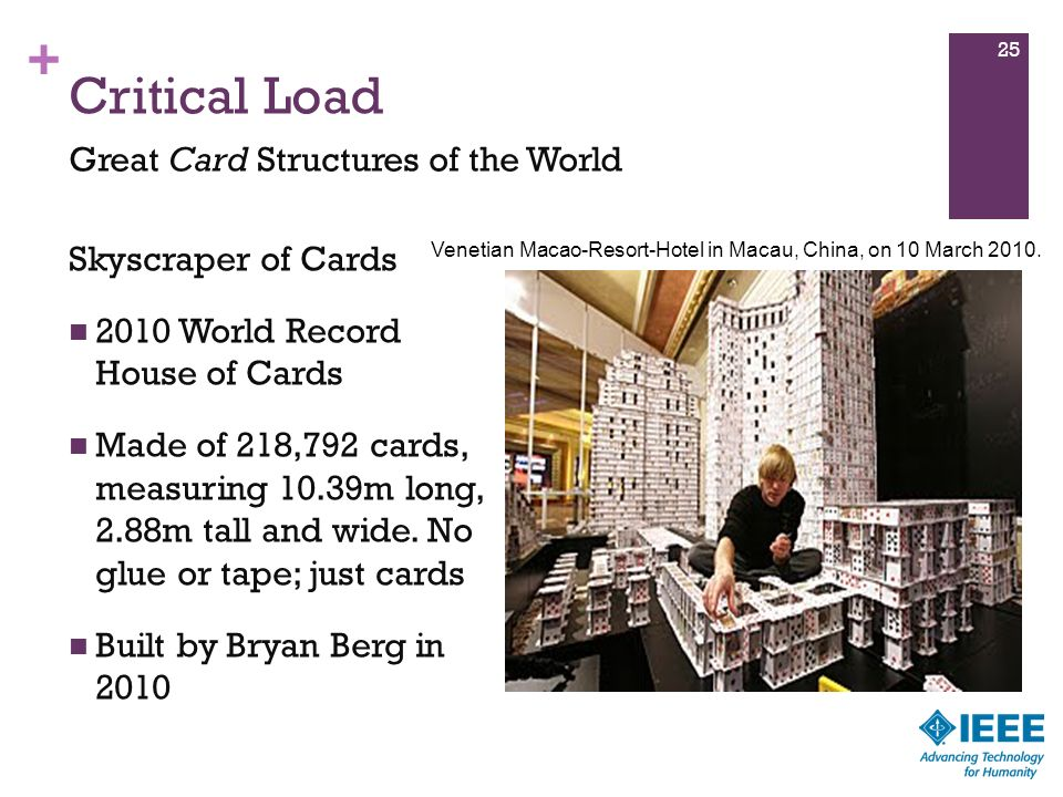 Critical Load Great Card Structures of the World Skyscraper of Cards