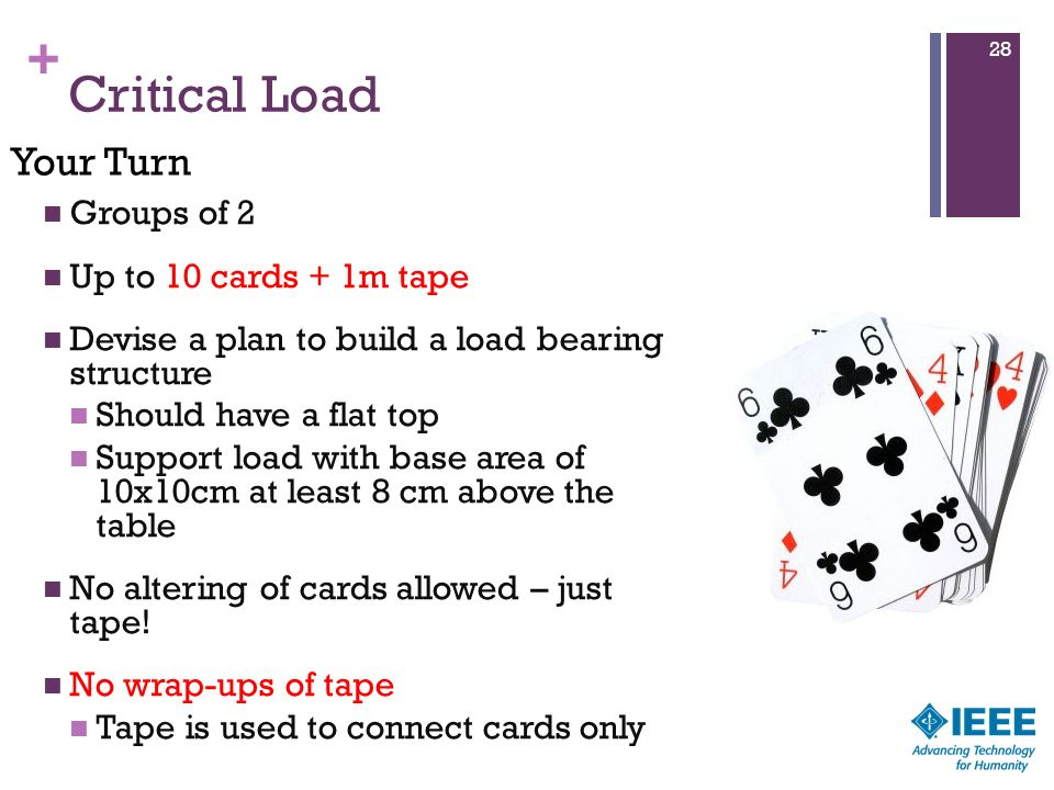 Critical Load Your Turn Groups of 2 Up to 10 cards + 1m tape