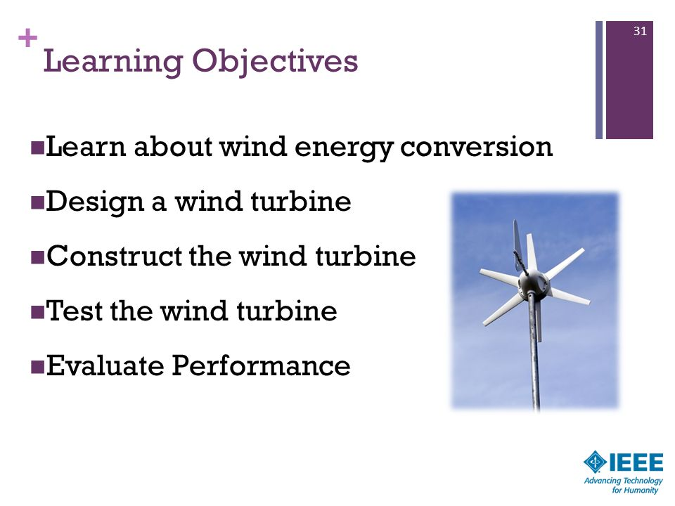 Learning Objectives Learn about wind energy conversion