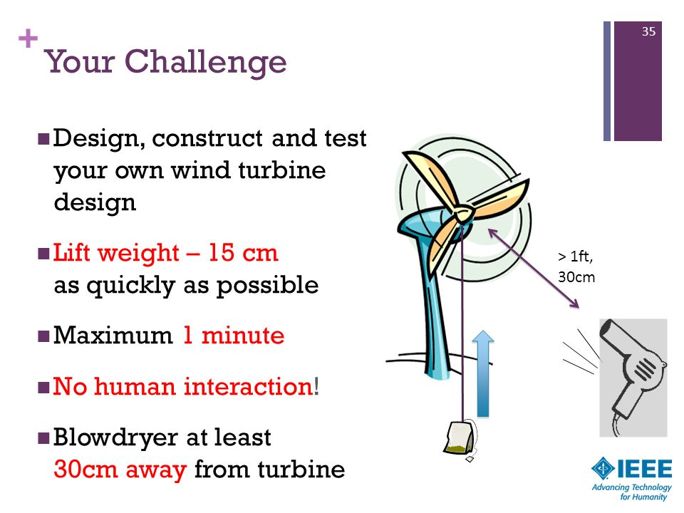 Your Challenge Design, construct and test your own wind turbine design