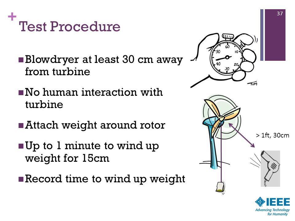 Test Procedure Blowdryer at least 30 cm away from turbine