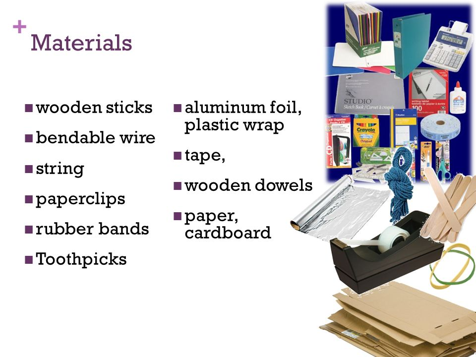 Materials wooden sticks aluminum foil, plastic wrap bendable wire