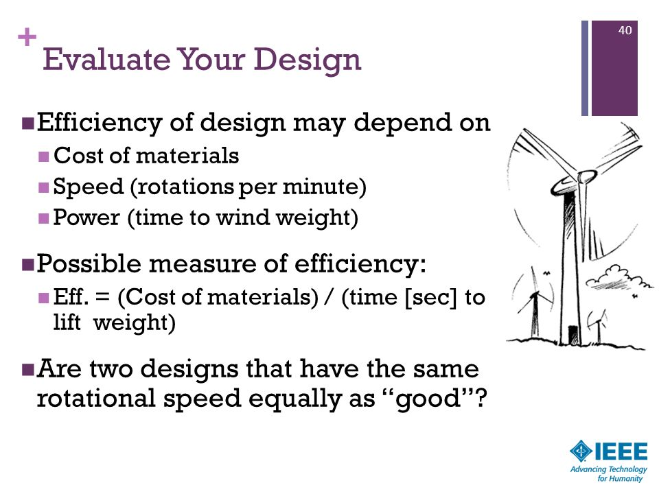 Evaluate Your Design Efficiency of design may depend on