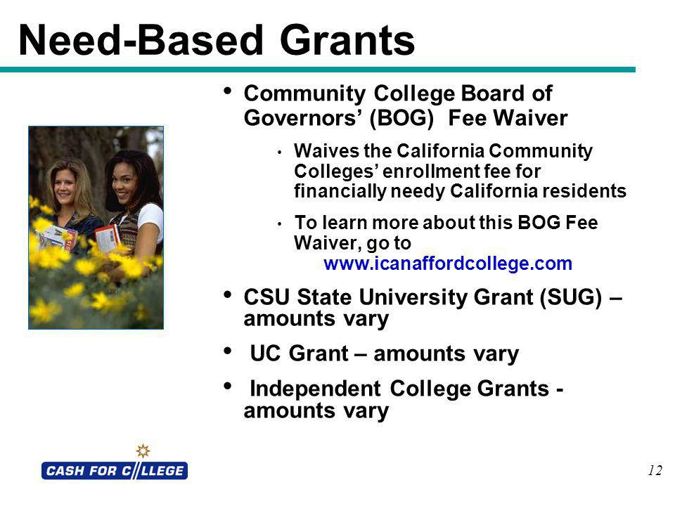 Need-Based Grants Community College Board of Governors' (BOG) Fee Waiver.