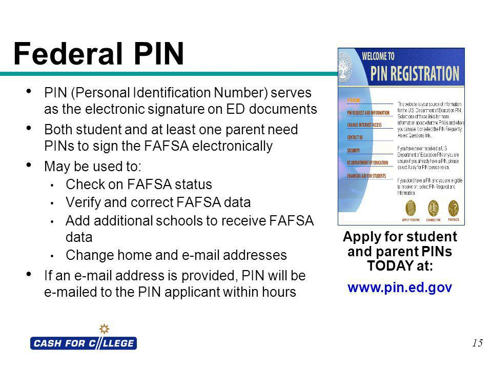 Apply for student and parent PINs TODAY at: