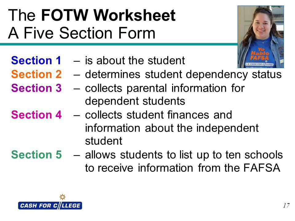 The FOTW Worksheet A Five Section Form