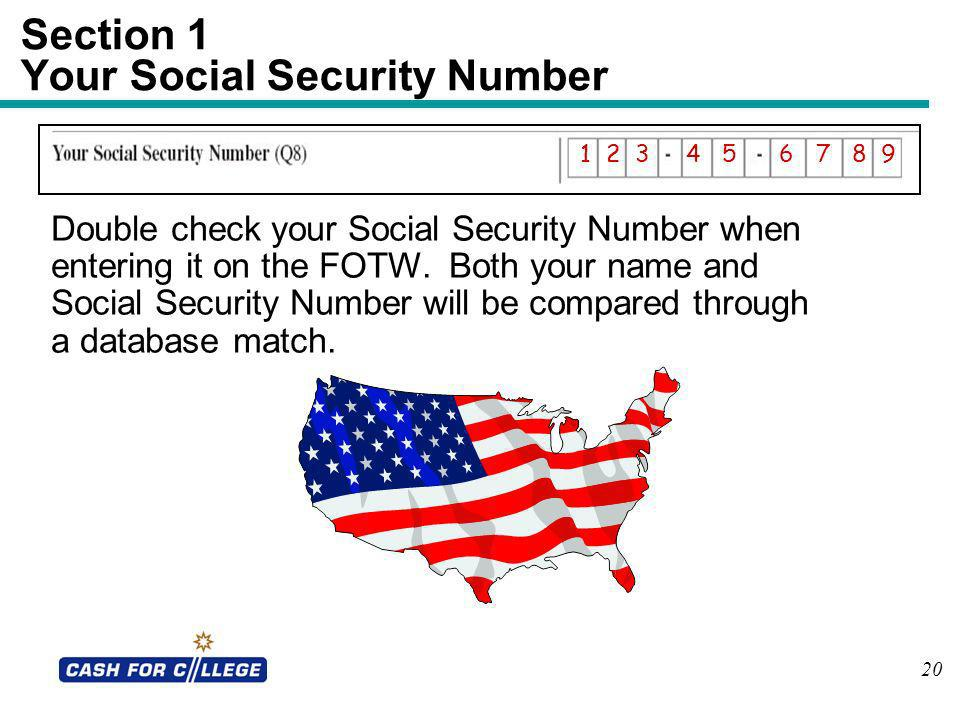 Section 1 Your Social Security Number