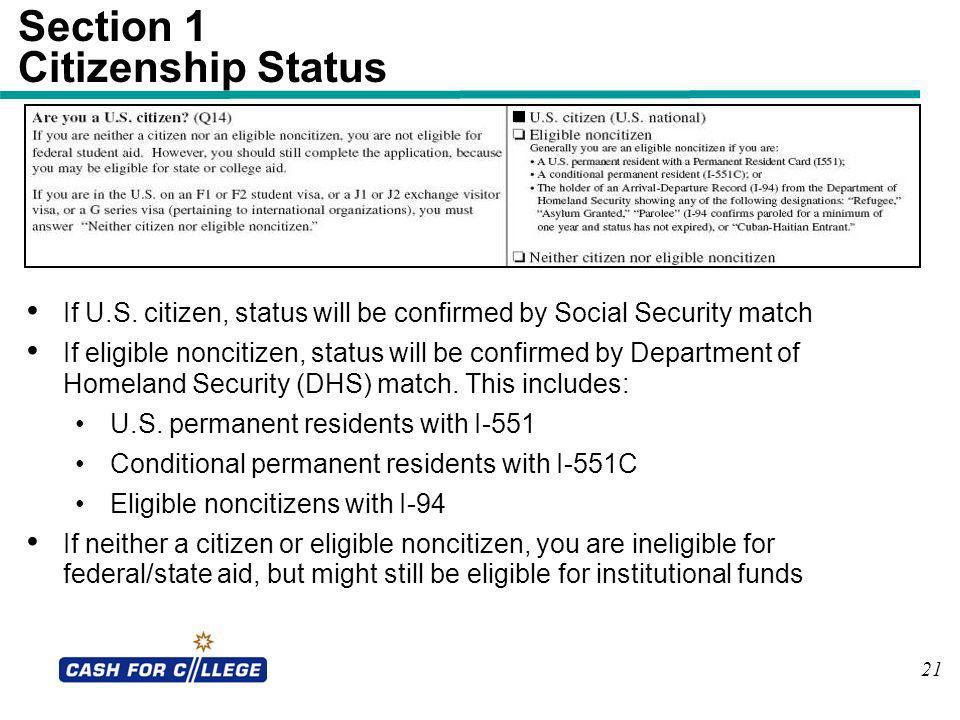 Section 1 Citizenship Status