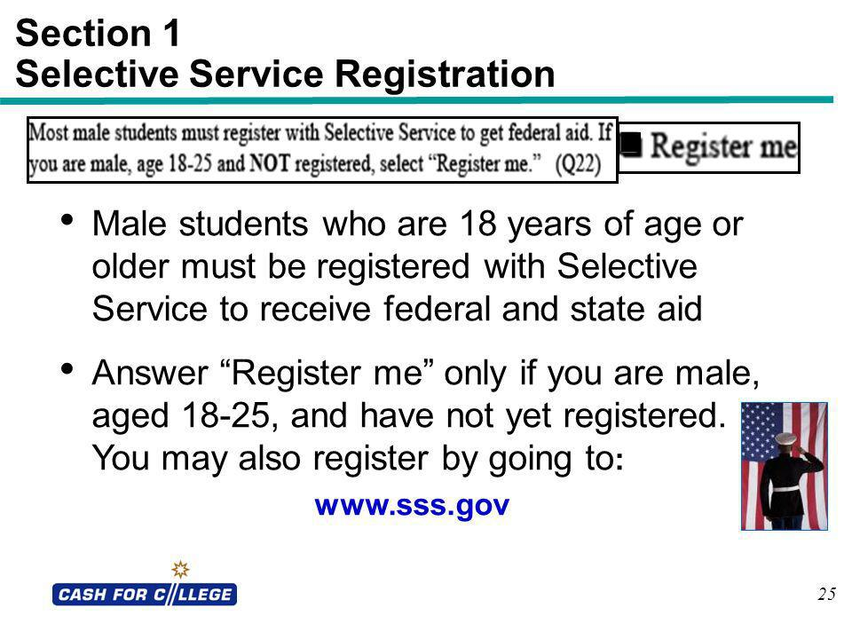 Section 1 Selective Service Registration