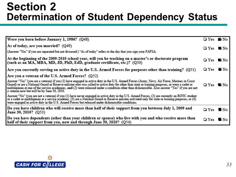 Section 2 Determination of Student Dependency Status 33