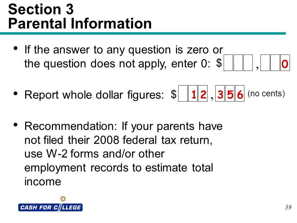 Section 3 Parental Information