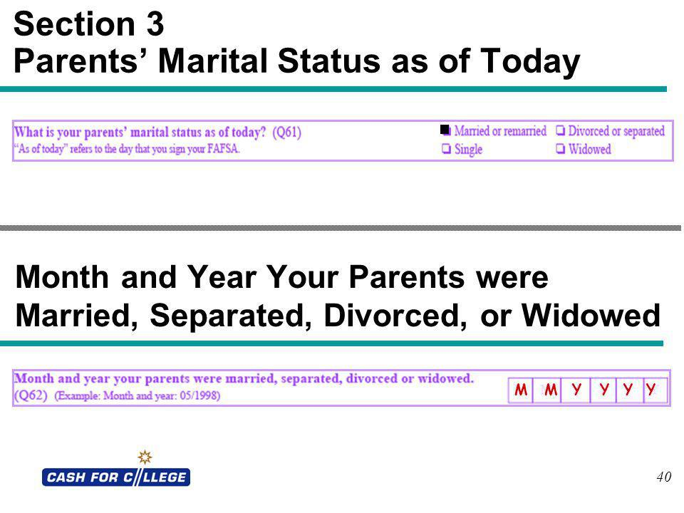 Section 3 Parents' Marital Status as of Today