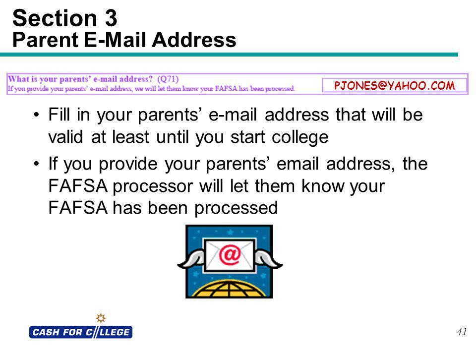 Section 3 Parent E-Mail Address