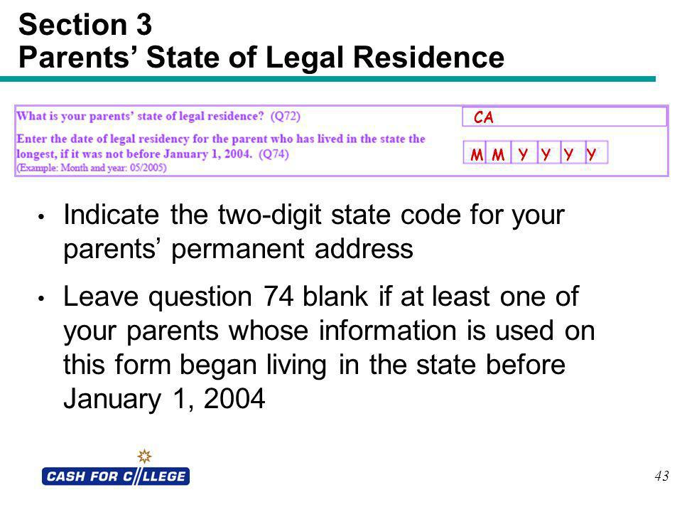Section 3 Parents' State of Legal Residence