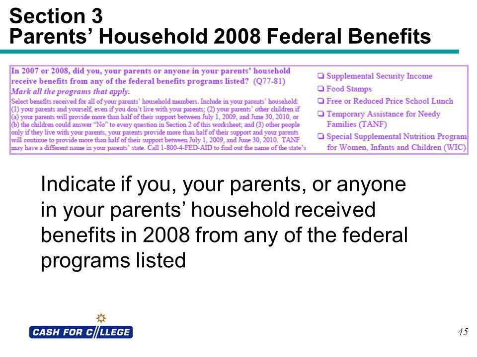 Section 3 Parents' Household 2008 Federal Benefits
