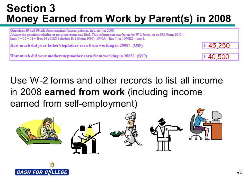 Section 3 Money Earned from Work by Parent(s) in 2008
