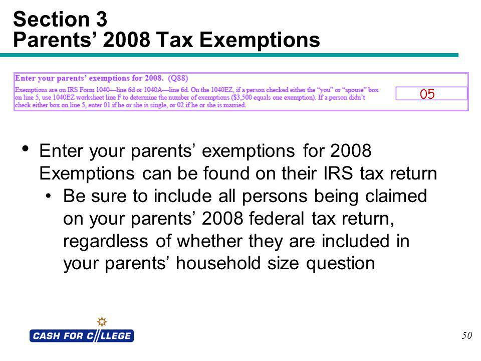 Section 3 Parents' 2008 Tax Exemptions