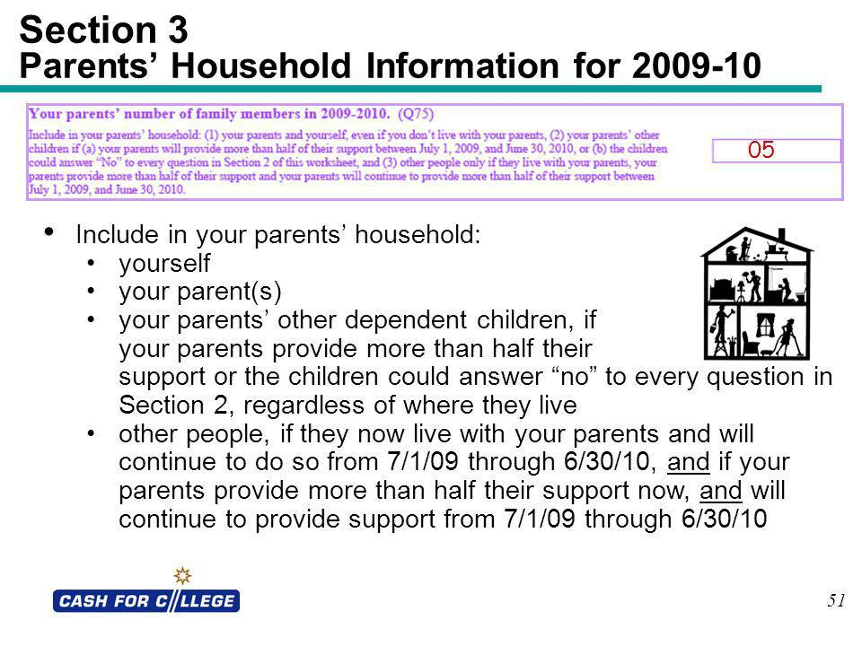 Section 3 Parents' Household Information for 2009-10