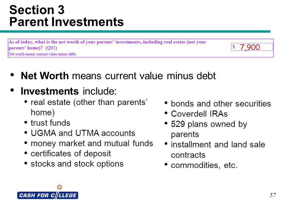 Section 3 Parent Investments